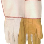 Golden Quilted Palm, White Back and Cuff Starched Gauntlet Gloves 18 oz. 378GPWR