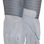 Gauntlet Full Leather Back Rubberized Cuff Shoulder Leather Gloves 0760825T