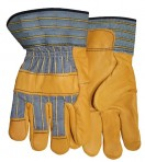 Safety Cuff Grain Cowhide Knuckle Striped Rubberized Cuff Gloves 5955WTS